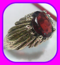 HEAVY 6.65G SOLID 9CT GOLD GENUINE SOLITAIRE GARNET ENGLISH VINTAGE RING~SIZE N½