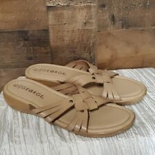 George beige leather strappy slip ons 8.5