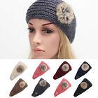 Women Real Fur Ball Knit Headband Winter Ear Warmer Hairband Hair Band Headwrap
