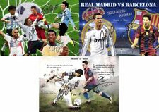 Lionel Messi Christiano Ronaldo Soccer Football Autograph Signed 3 x A4 Poster