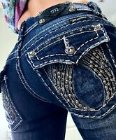Miss Me Skinny Angel wing Silver Thick Stitch Flap Denim Jeans size 2 26 x 30