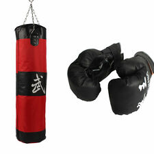 """39"""" MMA Boxing Heavy Punching Training Bag With Chain Empty Boxing Gloves Set"""