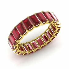 CERTIFIED 6.25Ct Real Emerald Cut Ruby 14k Yellow Gold Eternity Wedding Ring
