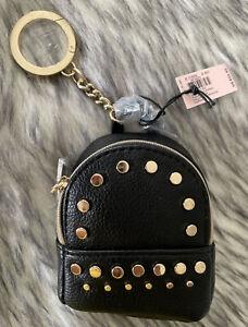 Victoria Secret Studded Mini Black BackPack Keychain V Charm Coin Purse Wallet🌺