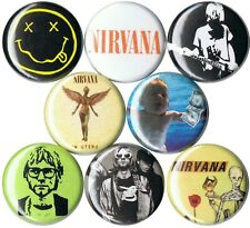 Nirvana 8 pins buttons Kurt Cobain 90s grunge Dave Grohl smiley Nevermind