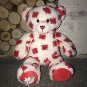 Build A Bear Canada Red & White Maple Leaf Stuffed Plush Canadian