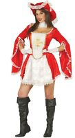Ladies Sexy Red White Musketeer Halloween Fancy Dress Costume Outfit 12-14 16-18
