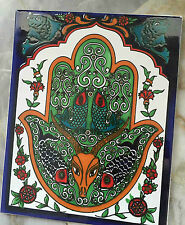 Fliesenbild / handbemalte Mosaikfliesen / Keramikfliesen, Hamsa Motiv, 20x25cm