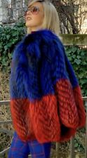 Silver   Dyed Blue And Red Fox  Fur Jacket/Coat
