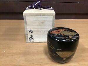 Y0246 NATUME Tea Caddy Urushi Makie Japanese TEA Ceremony bowl japan antique