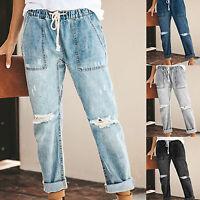 Women's Ripped Elastic Waist Jeans Drawstring Straight Legs Denim Long Trousers