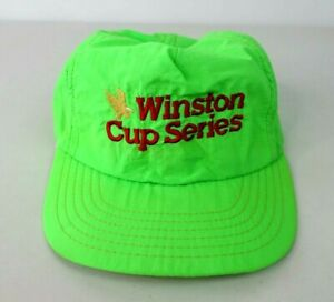 VTG 80s Winston Cup Series Hat Snapback Neon Green Rope Nascar Racing Made USA