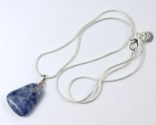 Women's Silver Plated Blue Agate Pendant Necklace