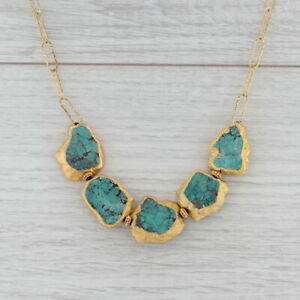 """New Nina Nguyen Turquoise Statement Necklace Sterling Gold Vermeil 19"""""""