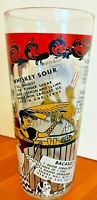 """Vintage HEAVY Glass BARTENDER Cocktail Shaker with Recipes & Graphics - 8 1/4"""" H"""