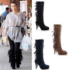 Faux Suede Upper High Heel (3-4.5 in.) Slim Boots for Women
