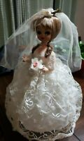 "Vintage Stockinette Mesh Blonde Bride Doll Made In Korea, 12"" Tall"