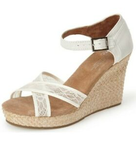 Toms Womens Lace And Grosgrain Ribbon High Heels Wedge Wedding Sandals Size 12