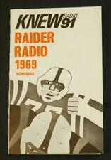 1969 Oakland Raiders Football Pocket Schedule KNEW 91 Raider Radio