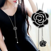 Women Chic Black Rose Flower Pendant Necklace Sweater Long Chain Crystal Jewelry