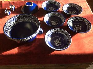 Hungarian Folk Art Pottery/Ceramic Soup Terrine/Bowls & Salt/Paprika Pots Unused
