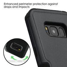 For Samsung Galaxy S8+ PLUS HYBRID HARD SOFT PROTECTOR BLACK SKIN CASE KICKSTAND