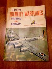 Original 1942 How to Identify Warplanes Friend or Enemy WWll Era USA War Media