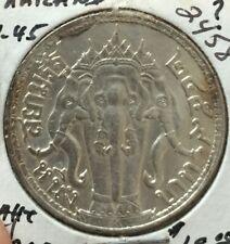 1940's Thailand Rama 1 Bath Elephant silver coin   very high grade
