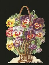 Die Cut Scrap German Victorian Style Embossed- Pansies / Flowers Stunning BK5074