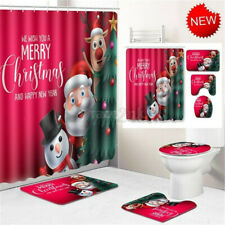 Christmas Waterproof Shower Curtain Polyester Bathroom Carpet Rug Toilet