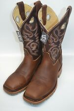 MENS Double H DH5404 Wide Square STEEL Toe MAHOG/CORAL Leather Oak Ice Sole 9 D