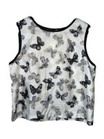 Sharon Young Tank Top Butterfly Top Sleeveless Blouse White Women's Size 10