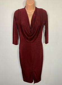 WOMENS BOOHOO SIZE UK 14 DARK RED COWL NECK PARTY CASUAL STRETCH BODYCON DRESS