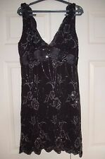 New 14 Flapper Black Mini Dress Lurex Lace Embroidery Sequin Escalloped Hem Gift