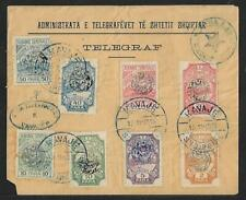 CENTRAL ALBANIA TELEGRAPH MULTIFRANKED COVER KAVAJE 1915  VERY RARE