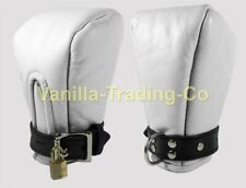 REAL LEATHER PADDED MITTS ADULT PUPPY GAY BONDAGE LOCKABLE