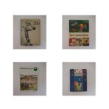 4 livres jeunesse ZOO INSECTES ANIMAUX TERRESTRES vintage 1974 1992