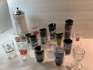 VINTAGE SODA FOUNTAIN GLASSES & STRAW DISPENSER(17 ITEMS) - CIRCA 1940s - 1960s