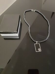 Stainless Stain Matte Onyx Beaded Chain Necklace with Box