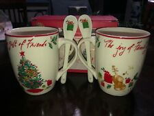 New Lenox Holiday The Gift of Friends Family Set 2 Cocoa Coffee Mugs Cups 14oz