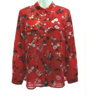 WOMEN'S ANN TAYLOR LOFT RED FLORAL ROLL TAB LONG SLEEVE BUTTON DOWN BLOUSE MP