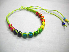 LIME GREEN MACRAME w RAINBOW WOOD BEADS BLUE GREEN PINK TIE BRACELET OR ANKLET