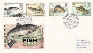 26 JANUARY 1983 BRITISH RIVER FISHES MERCURY FIRST DAY COVER IW STAFFORD SHS