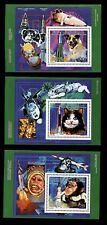 """DOG in SPACE CAT MONKEY Laika  COMORES POSTAGE STAMP MINI SHEETS x 3 """"Mint"""" 1992"""