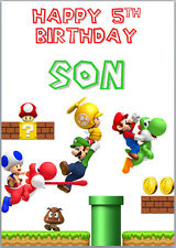 Super Mario Bros Birthday Card A5 Personalised with own words
