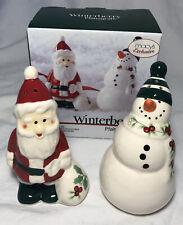 Pfaltzgraff Winterberry Santa and Snowman Salt & Pepper Set