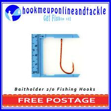 100 x Size 2/0 Red Bait Holder Hooks Saltwater Freshwater Fishing Tackle Bulk