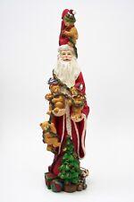 "Skinny Santa Claus Figurine Resin Holding Teddy Bears Christmas Tree Gifts 12"""