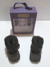 NEW NIB INFANT BOYS PEDIPED ANDREW CHOCOLATE BROWN FUR LINED BOOTS SIZE 0-6 MON