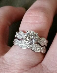 Lab created Diamond wedding ring set s925
